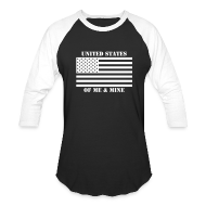 T-Shirts ~ Men's Baseball T-Shirt ~ Black & White United States of Me & Mine Baseball Tee
