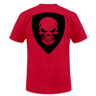 T-Shirts ~ Men's T-Shirt by American Apparel ~ Red With Black Shield
