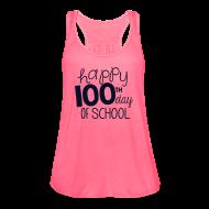 Tanks ~ Women's Flowy Tank Top by Bella ~ Happy 100th Day of School | Glitter Black | Women's Flowy Tank