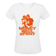 Women's T-Shirts ~ Women's V-Neck T-Shirt ~ Money Well Spent - Ladies V-Neck - Dark Design