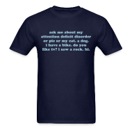 T-Shirts ~ Men's T-Shirt ~ Ask Me About My Attention Deficit Disorder - light blue print