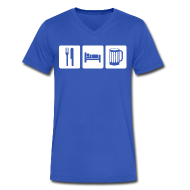 T-Shirts ~ Men's V-Neck T-Shirt by Canvas ~ Eat Sleep Beer