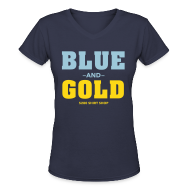 Women's T-Shirts ~ Women's V-Neck T-Shirt ~ Blue And Gold - Ladies V-Neck