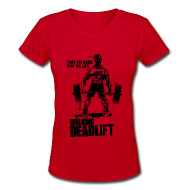 Women's T-Shirts ~ Women's V-Neck T-Shirt ~ Zombie Walking Deadlift | Womens tee