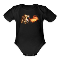 Baby & Toddler Shirts ~ Baby Short Sleeve One Piece ~ Fire Breathing Lion