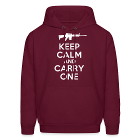Keep Calm And Carry One - Hoodie- Burgundy