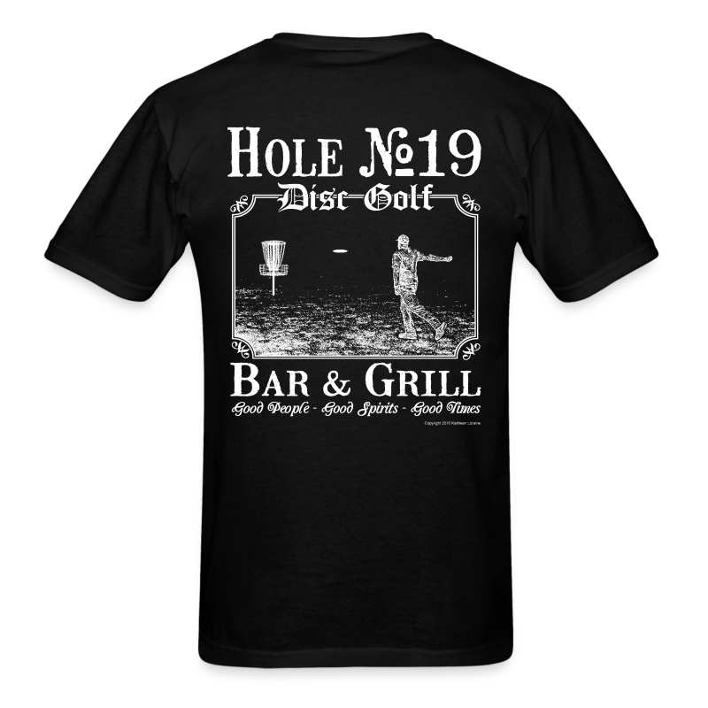 Hole 19 Disc Golf Bar & Grill - White Print - Men's Shirt