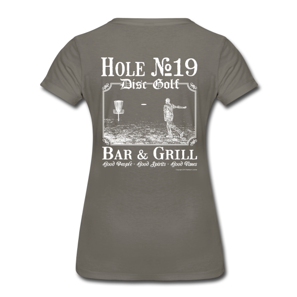 Hole 19 Disc Golf Bar & Grill - White Print - Women's Shirt