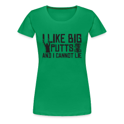 I Like Big Putts and I Cannot Lie Disc Golf Shirt - Black Print - Women's Shirt
