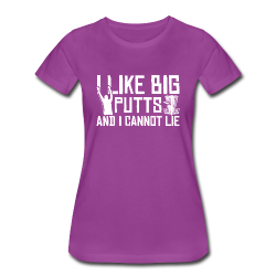 I Like Big Putts and I Cannot Lie Disc Golf Shirt - White Print - Women's Shirt