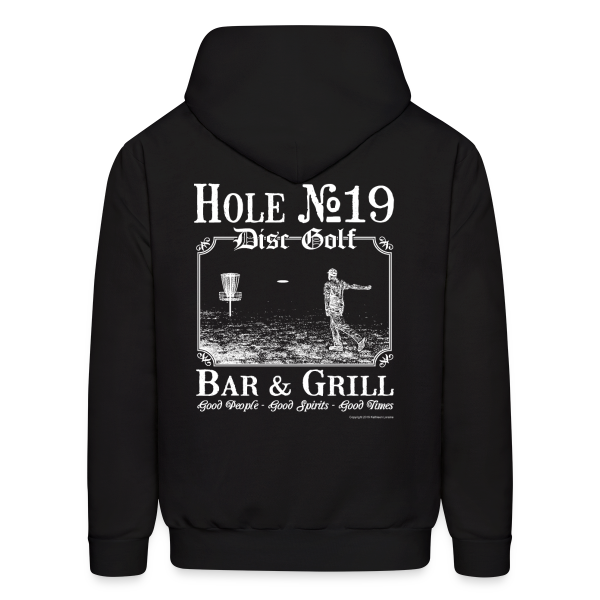Hole 19 Disc Golf Bar and Grill Adult Hoodie - White Print