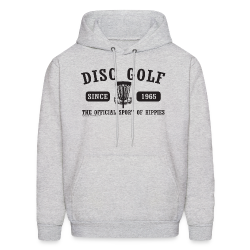 Disc Golf the Official Sport of Hippies Adult Hoodie - White Print