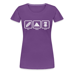 Women's Eat, Camp, Disc Golf Shirt - White Print - Choose Color Tee