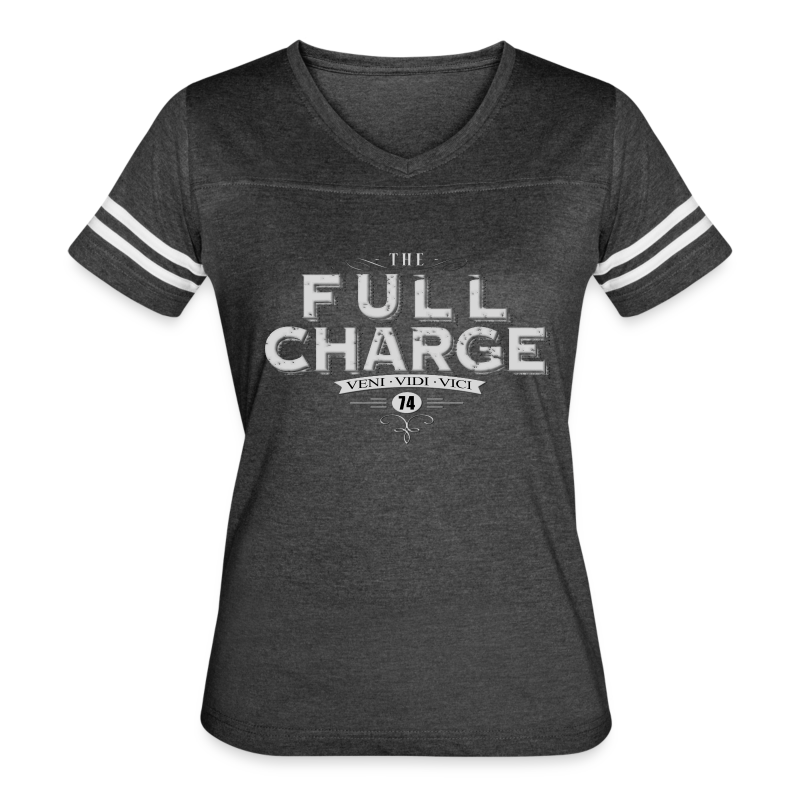 Full Charge Veni Vidi Vici Girls Ringer Tee - Women's Vintage Sport T-Shirt