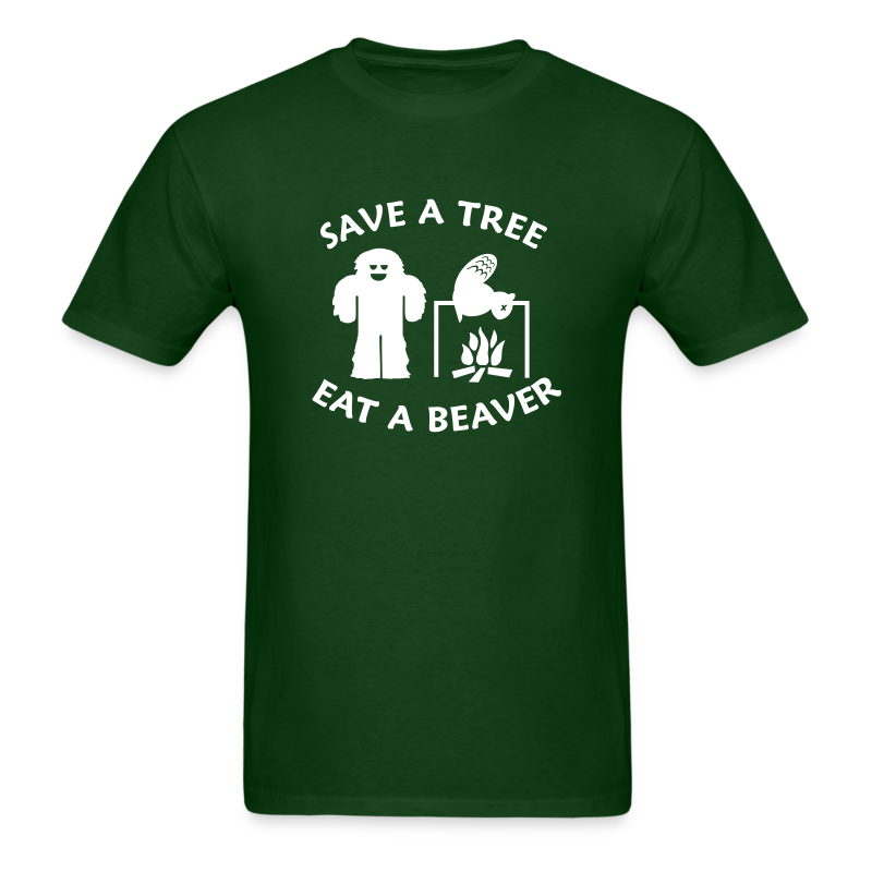 Sasquatch Bigfoot Save a Tree Eat a Beaver Camping Shirt - White Print