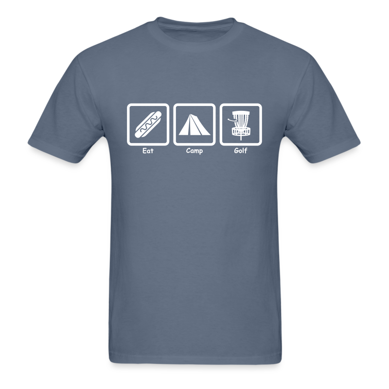 Eat, Camp, Play Disc Golf - Men's Shirt - White Print