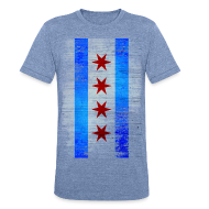 T-Shirts ~ Men's Tri-Blend Vintage T-Shirt ~ Chicago Flag Faded