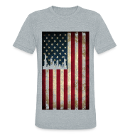 T-Shirts ~ Men's Tri-Blend Vintage T-Shirt ~ Chicago USA Flag