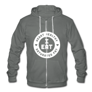 Zip Hoodies/Jackets ~ Unisex Fleece Zip Hoodie by American Apparel ~ I Eat Heart Healthy Saturated Fat (White)