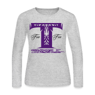 Long Sleeve Shirts ~ Women's Long Sleeve Jersey T-Shirt ~ WOMENS LONG SLEEVE T SIZZLE LOGO GREY/PURPLE