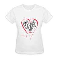 Women's T-Shirts ~ Women's Standard Weight T-Shirt ~ Red Heart with Song Lyrics