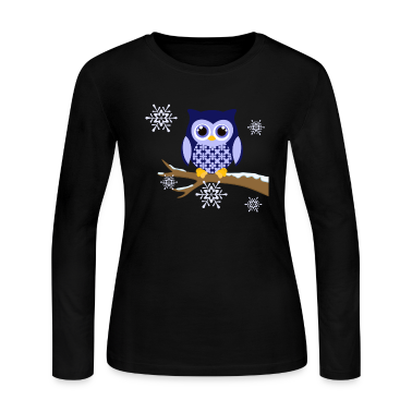 Winter blue owl Women's long sleeved t-shirt