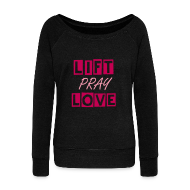 Long Sleeve Shirts ~ Womens Wideneck Sweatshirt ~ liftpraylove off the shoulder sweatshirt