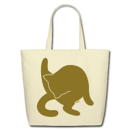 Bags & backpacks ~ Eco-Friendly Cotton Tote ~ Bathing Kitty (Metallic Gold)