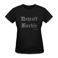 Women's T-Shirts ~ Women's Standard Weight T-Shirt ~ DETROIT BARBIE SILVER AND BLACK