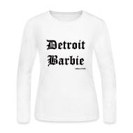 Long Sleeve Shirts ~ Women's Long Sleeve Jersey T-Shirt ~ WHITE BARBIE BLACK PRINT LS