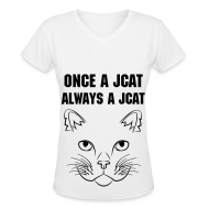 Women's T-Shirts ~ Women's V-Neck T-Shirt ~ Once a Jcat, Always a Jcat V-Neck