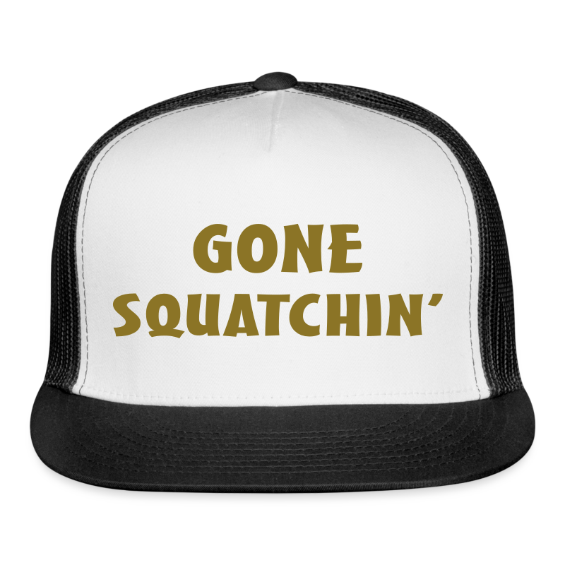 Gone Squatchin Sasquatch Bigfoot Trucker Cap - Black and Gold