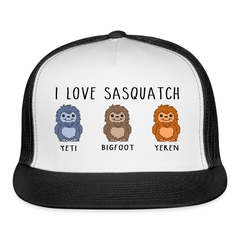I Love Sasquatch Bigfoot Yeti Bigfoot Yeren Trucker Cap
