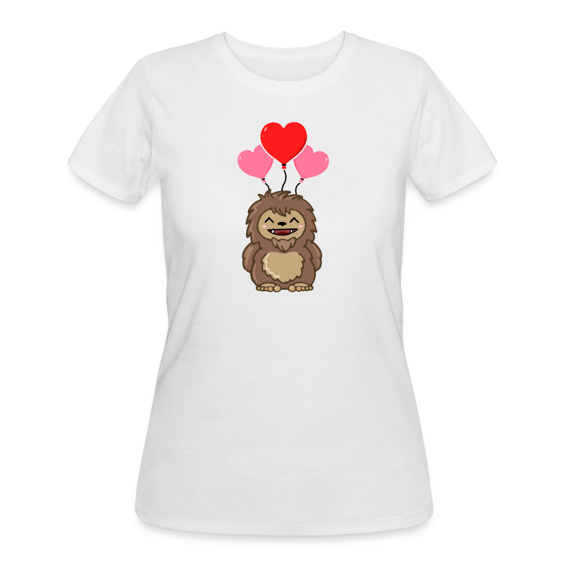 Little Sasquatch Bigfoot Happy Valentine's Day Shirt - Love - Heart Balloons - Women's 50/50 Shirt