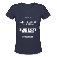 Women's T-Shirts ~ Women's V-Neck T-Shirt ~ Blue Shirt on Gameday Women's V-neck T-Shirt