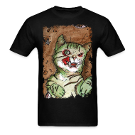T-Shirts ~ Men's Standard Weight T-Shirt ~ mens green zombie cat