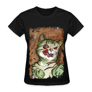 Women's T-Shirts ~ Women's Standard Weight T-Shirt ~ womens green zombie cat