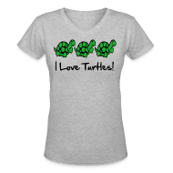 Women's T-Shirts ~ Women's V-Neck T-Shirt ~ I Love Turtles
