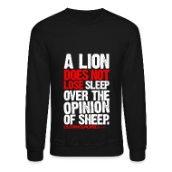 Long Sleeve Shirts ~ Men's Crewneck Sweatshirt ~ A lion does not lose sleep | Mens jumper (wht pr)