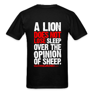 T-Shirts ~ Men's Standard Weight T-Shirt ~ A lion does not lose sleep | Mens Tee (wht pr) back print