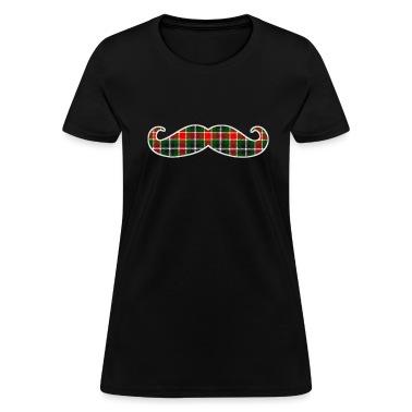 Christmas Plaid Mustache Womens T-shirt