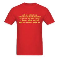 T-Shirts ~ Men's T-Shirt ~ Ask Me About My Attention Deficit Disorder T-Shirt - Yellow Print