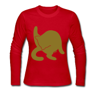 Long Sleeve Shirts ~ Women's Long Sleeve Jersey T-Shirt ~ Golden Cat