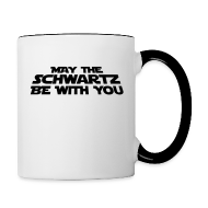 Bottles & Mugs ~ Contrast Coffee Mug ~ 'May the Schwartz Be With You' Crawl Design Coffee Mug