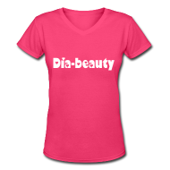 Women's T-Shirts ~ Women's V-Neck T-Shirt ~ Dia-Beauty White