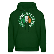 Hoodies ~ Men's Hooded Sweatshirt ~ Michigan Irish Shamrock Flag
