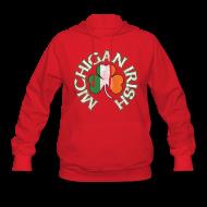 Hoodies ~ Women's Hooded Sweatshirt ~ Michigan Irish Shamrock Flag