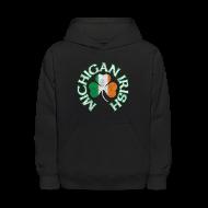 Sweatshirts ~ Kids' Hooded Sweatshirt ~ Michigan Irish Shamrock Flag