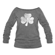 Long Sleeve Shirts ~ Womens Wideneck Sweatshirt ~ Distressed Irish Shamrock
