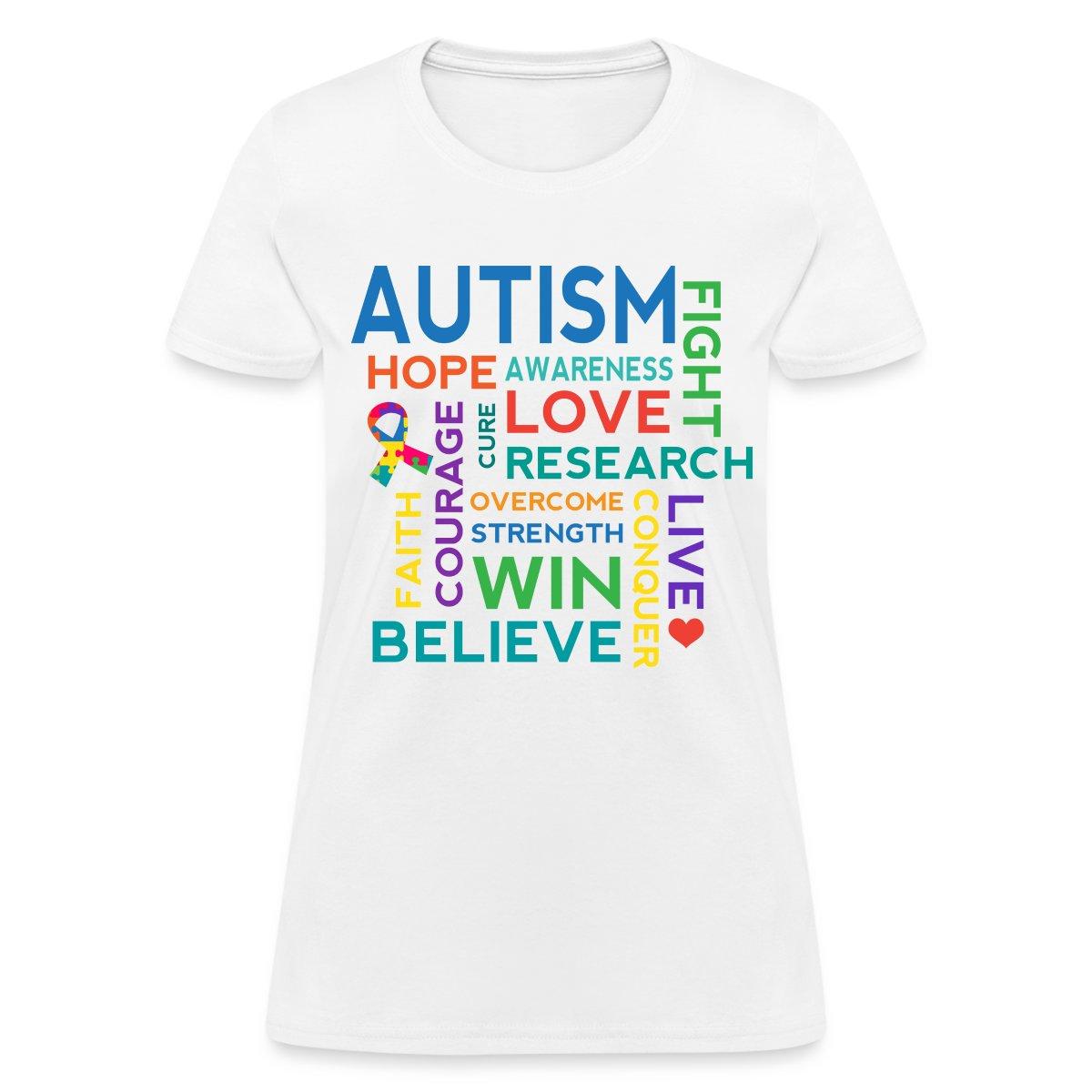 Autism Awareness Word Cloud Women 39 S T Shirt Ebay